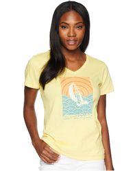 Life Is Good. - Mosaic Sailboat Crusher Vee Tee (happy Yellow) Women's T Shirt - Lyst