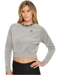 Fila - Dina Velour Crew (gray Heather/black/white) Women's Clothing - Lyst