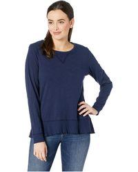 Mod-o-doc - Slub Jersey Long Sleeve Sweatshirt Tee With Flounce Hem (white) Women's T Shirt - Lyst