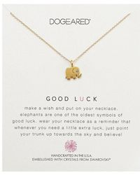 Dogeared - Good Luck, Elephant W/ Swarovski Crystal Necklace (gold) Necklace - Lyst