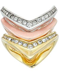 Michael Kors - Tone And Crystal Stacked Ring Set (multi) Ring - Lyst