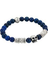 Steve Madden - Bead And Discs With Skull Design Stretch Bracelet In Stainless Steel (blue) Bracelet - Lyst