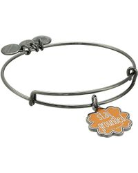 ALEX AND ANI - Words Are Powerful Stay Grounded Bangle (midnight Silver) Bracelet - Lyst