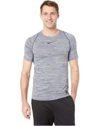 b41f0eb35b25f Nike - Pro Heathered Short Sleeve Training Top (blue Void dark  Obsidian black