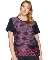 Lauren by Ralph Lauren - Plus Size Geometric-print T-shirt (navy) Women's T Shirt - Lyst
