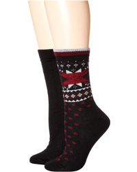 Hue - Fair Isle Boot Socks 2-pair Pack (black) Women's Crew Cut Socks Shoes - Lyst