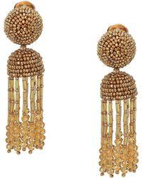 Oscar de la Renta - Short Beaded Tassel C Earrings (wedgewood) Earring - Lyst