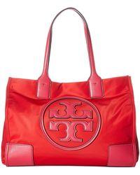 Tory Burch - Ella Color Block Mini Tote (brilliant Red/bright Azalea) Tote Handbags - Lyst
