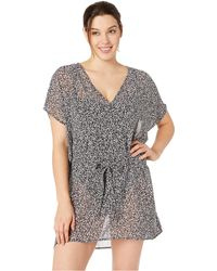 MICHAEL Michael Kors - Shadow Floral Belted V-neck Caftan Cover-up (black) Women's Swimwear - Lyst