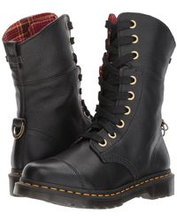 Dr. Martens - Aimilita 9-eye Toe Cap Boot (cherry Red Grizzly/dms Tartan Khaki Wool) Women's Lace-up Boots - Lyst
