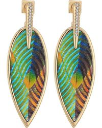 Vince Camuto - Inlaid Leather Front Statement Earrings (gold 1) Earring - Lyst