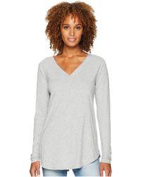 Mod-o-doc - Classic Jersey Long Sleeve Seamed V-neck Tee (heather Grey) Women's T Shirt - Lyst