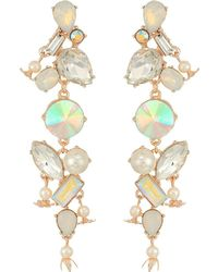 Betsey Johnson - Mixed Stone Linear Earrings - Lyst