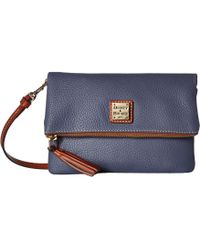 Dooney & Bourke - Pebble Fold-over Zip Crossbody (ecru/tan Trim) Cross Body Handbags - Lyst