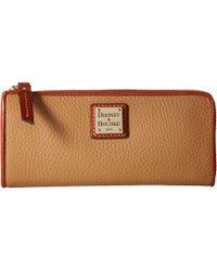 Dooney & Bourke - Pebble Zip Clutch (ocean/tan Trim) Clutch Handbags - Lyst