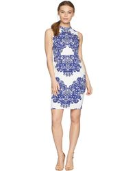 Adrianna Papell - Petite Lace Printed Mock Neck - Lyst