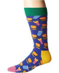 Happy Socks - Hamburger Socks (purple Combo) Men's Crew Cut Socks Shoes - Lyst