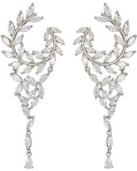 Nina - Fern Front/back Chandelier Earrings (rose Gold/white Cz) Earring - Lyst