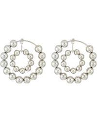 Steve Madden - Multi Beaded Double Hoop Post Earrings (silver) Earring - Lyst