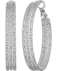 Guess - Medium Triple Textured Wire Hoop Earrings - Lyst