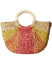 a10307c9e192 San Diego Hat Company - Bsb1734 - Cornhusk Tote Circular Wood Handle  (yellow) Handbags