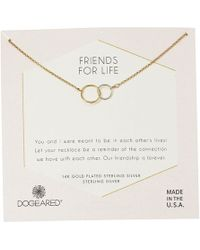 Dogeared - Friends For Life, Two Mixed Metal Linked Rings Necklace (gold Dipped) Necklace - Lyst