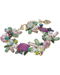 Betsey Johnson - Colorful Stone And Cat Cluster Collar Bracelet (multi) Bracelet - Lyst