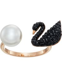 Swarovski - Iconic Swan Ring (rose Gold/black) Ring - Lyst