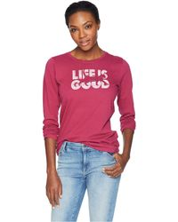 Life Is Good. - Knockout Cat Crusher Long Sleeve T-shirt (wild Cherry) Women's T Shirt - Lyst