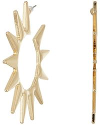Kenneth Jay Lane - Polished Gold Spike Hoop Pierced Earrings - Lyst