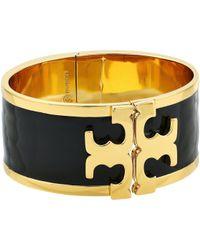 Tory Burch - Enamel Raised Logo Wide Cuff Bracelet (black/tory Gold) Bracelet - Lyst