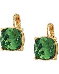 Kenneth Jay Lane - 12 Mm Gold Eurowire/erenite Faceted Square Stone Earrings (gold/erenite) Earring - Lyst