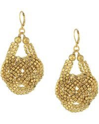 Kenneth Jay Lane - Gold Seedbead Knotted Fishhook Earrings - Lyst