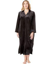 Lauren by Ralph Lauren - Plus Size Velvet Long Sleeve Notch Collar Zip Front Caftan (black) Women's Pajama - Lyst