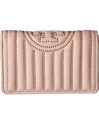 Tory Burch - Fleming Mini Stud Slim Medium Wallet (shell Pink) Wallet Handbags - Lyst