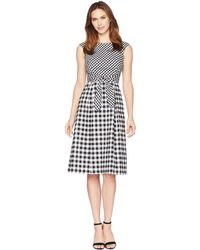 Adrianna Papell - Gingham Midi Fit And Flare Dress - Lyst