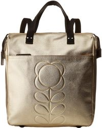 Orla Kiely - Embossed Flower Stem Leather Backpack - Lyst