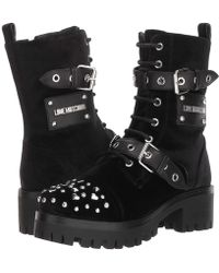 Love Moschino - Buckle Ankle Boot (black Velvet) Women's Lace-up Boots - Lyst