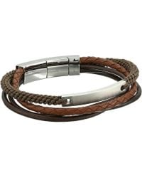 Fossil | Defender Wide Leather Bracelet | Lyst