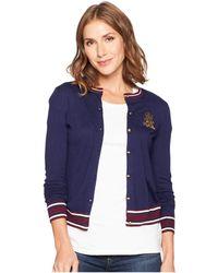 Lauren by Ralph Lauren - Bullion-patch Cotton Cardigan (navy/multi) Women's Sweater - Lyst