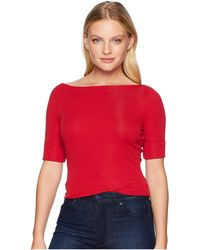 Lauren by Ralph Lauren - Petite Cotton Boat Neck Top (crisp Cerise) Women's Clothing - Lyst