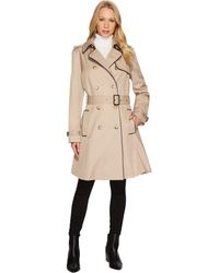 Lauren by Ralph Lauren - Double Breast Faux Leather Trim Trench - Lyst