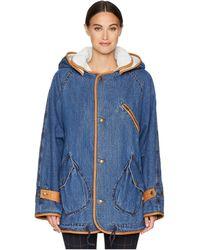 McQ - Denim Parka (vintage Wash Blue) Women's Coat - Lyst
