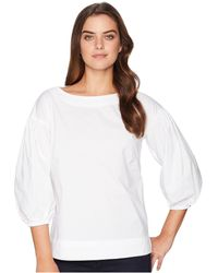 Lauren by Ralph Lauren - Stretch Cotton Bishop-sleeve Top (white) Women's Clothing - Lyst
