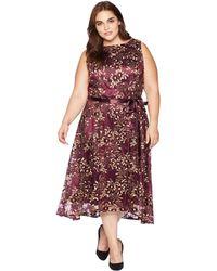 Tahari - Plus Size Embroidered Mesh Midi Dress (aubergine/gold) Women's Dress - Lyst