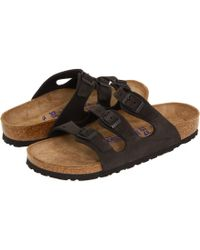 Birkenstock - Florida Soft Footbed - Nubuck (black Nubuck) Sandals - Lyst
