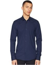 Scotch & Soda - Nos - Classic Long Sleeve Shirt In Crispy Cotton/lycra Quality (night) Men's Clothing - Lyst