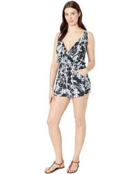 4a4b448d994b Lyst - Lucky Brand Indian Summer Batwing Romper Cover-up in Green