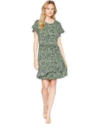MICHAEL Michael Kors - Paisley Ruffle Wrap Dress (true Navy/green Apple Multi) Women's Dress - Lyst