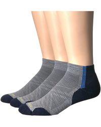 Smartwool - Phd Run Light Elite Pattern Low Cut 3-pack (light Grey) Men's Crew Cut Socks Shoes - Lyst